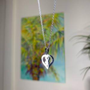 playboy bunny heart pendant silver dainty necklace